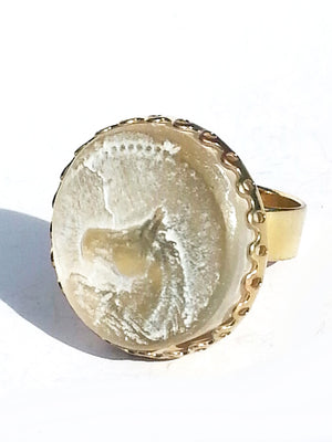 Ring Hand Cast French Glass Horse Round White Gold Plated Band