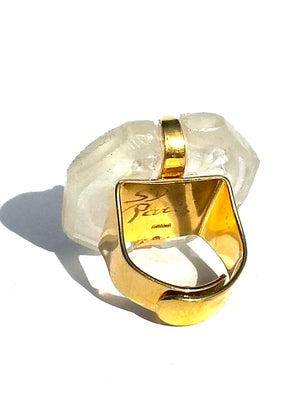 Ring Hand Cast French Glass Woman and Laurel White Gold Plated Band