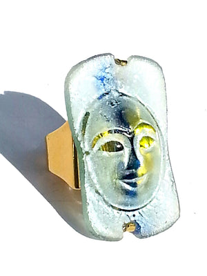 Ring Hand Cast French Glass Moon Blue Green Gold Plated Band