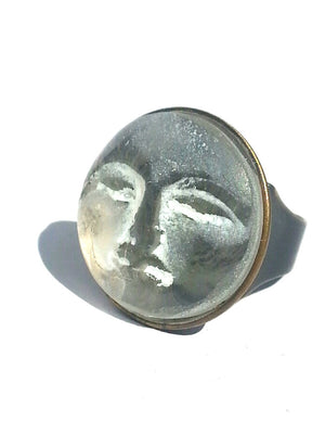 Ring Hand Cast French Glass Moon White Round