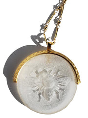 Necklace Hand Cast French Glass Bee White Round