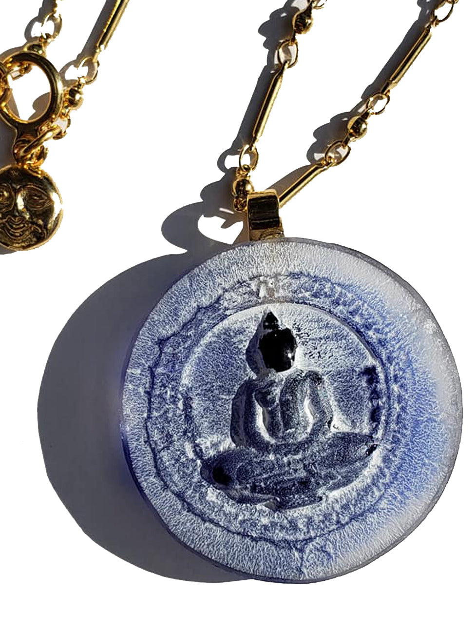 Necklace Hand Cast French Glass Buddha Blue