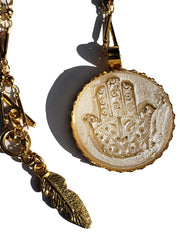 Necklace Hand Cast French Glass Hamsa White Round