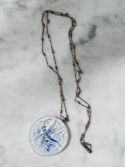 Necklace Hand Cast French Glass  Pendant Dragonfly Blue And White