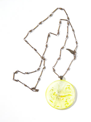 Necklace Hand Cast French Glass  Pendant Yellow Dragonfly