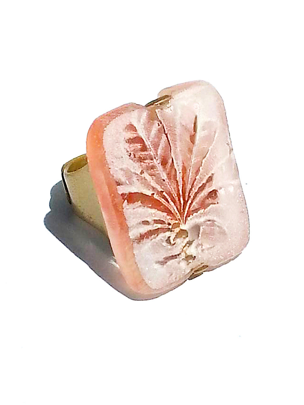 Ring Hand Cast French Glass Palm Leaf Pink