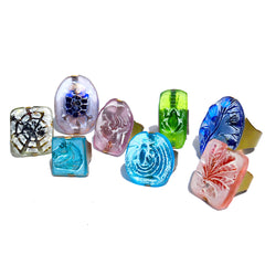 Ring Hand Cast French Glass Lady with Laurel