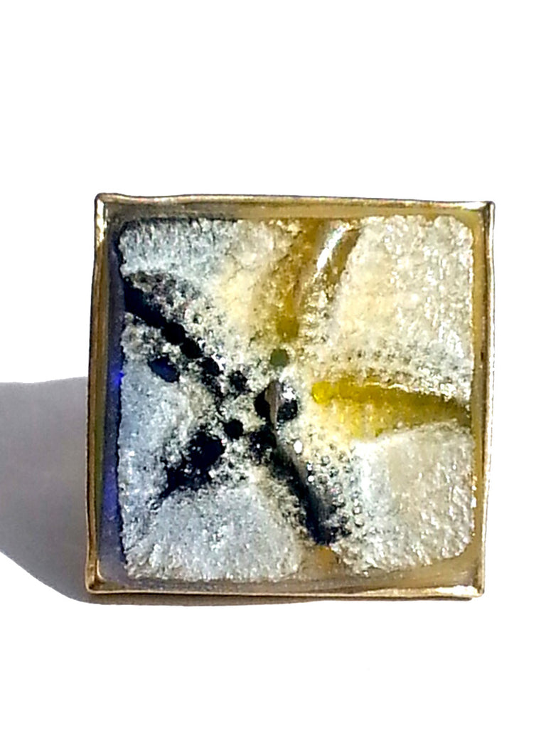 Ring Hand Cast French Glass Starfish Gold Plated Band