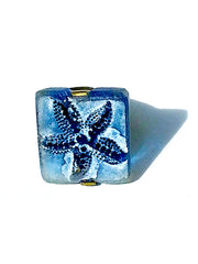 Ring Hand Cast French Glass Starfish Blue