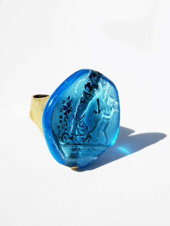 Ring Hand Cast French Glass Turquoise Fairy