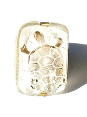 Ring Hand Cast French Glass Turtle White 2