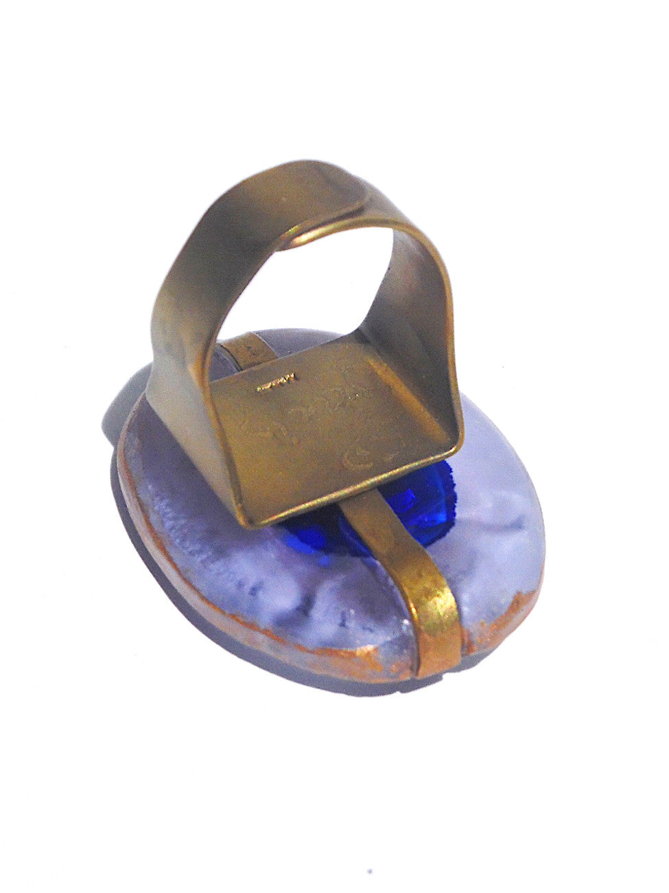 Ring Hand Cast French Glass Turtle Blue Gold