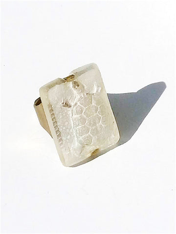 Ring Hand Cast French Glass Turtle White
