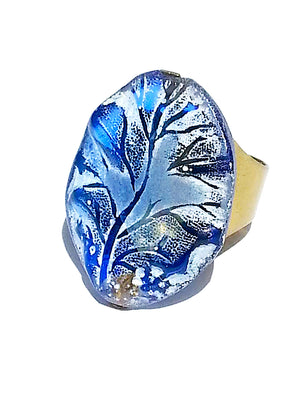 Ring Hand Cast French Glass Vine Blue
