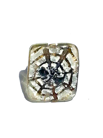 Ring Hand Cast French Glass Spider Web Gold