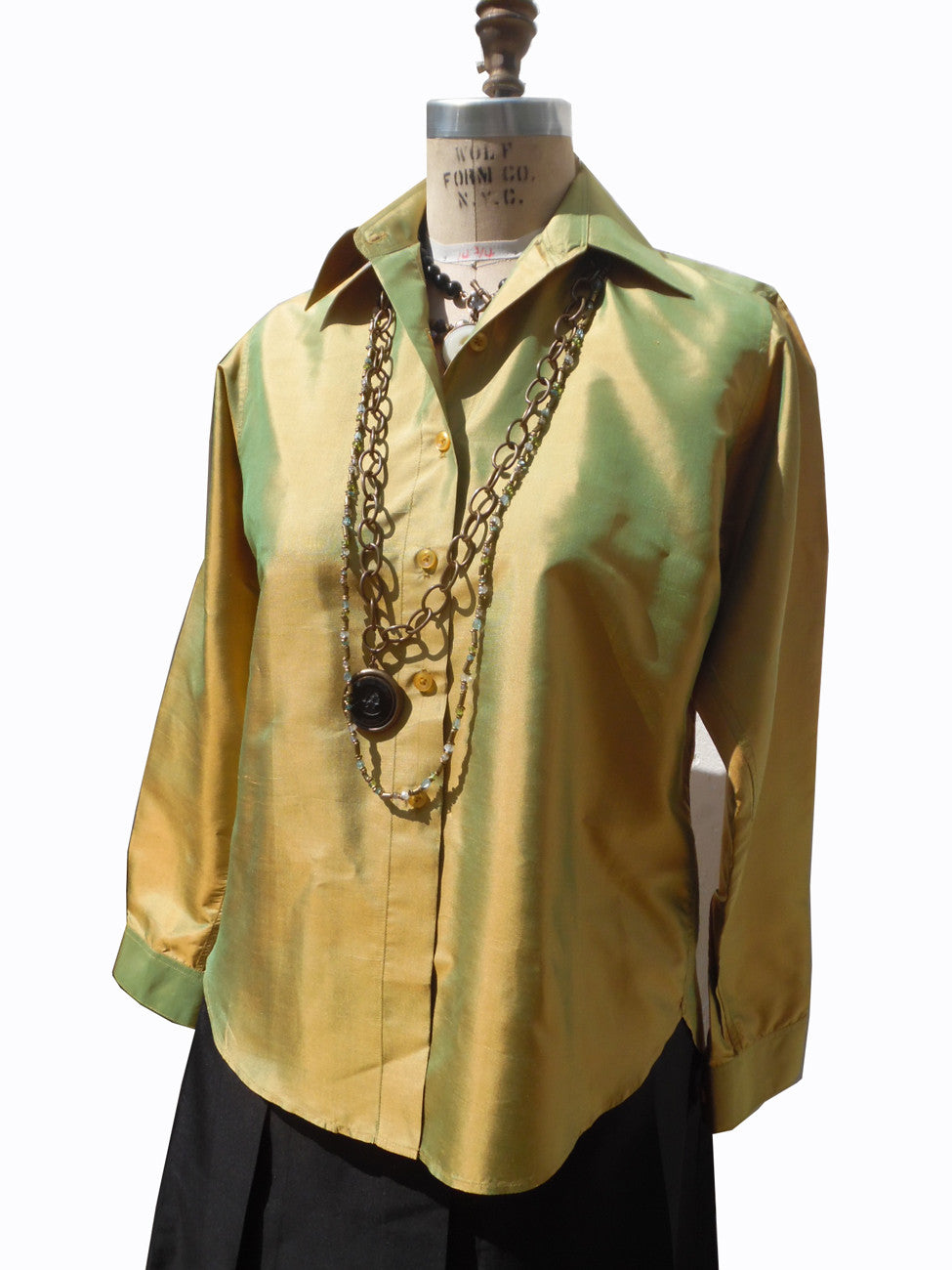 Thai Silk Button Down Shirt Avocado