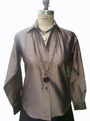 Thai Silk Button Down Shirt Bronze