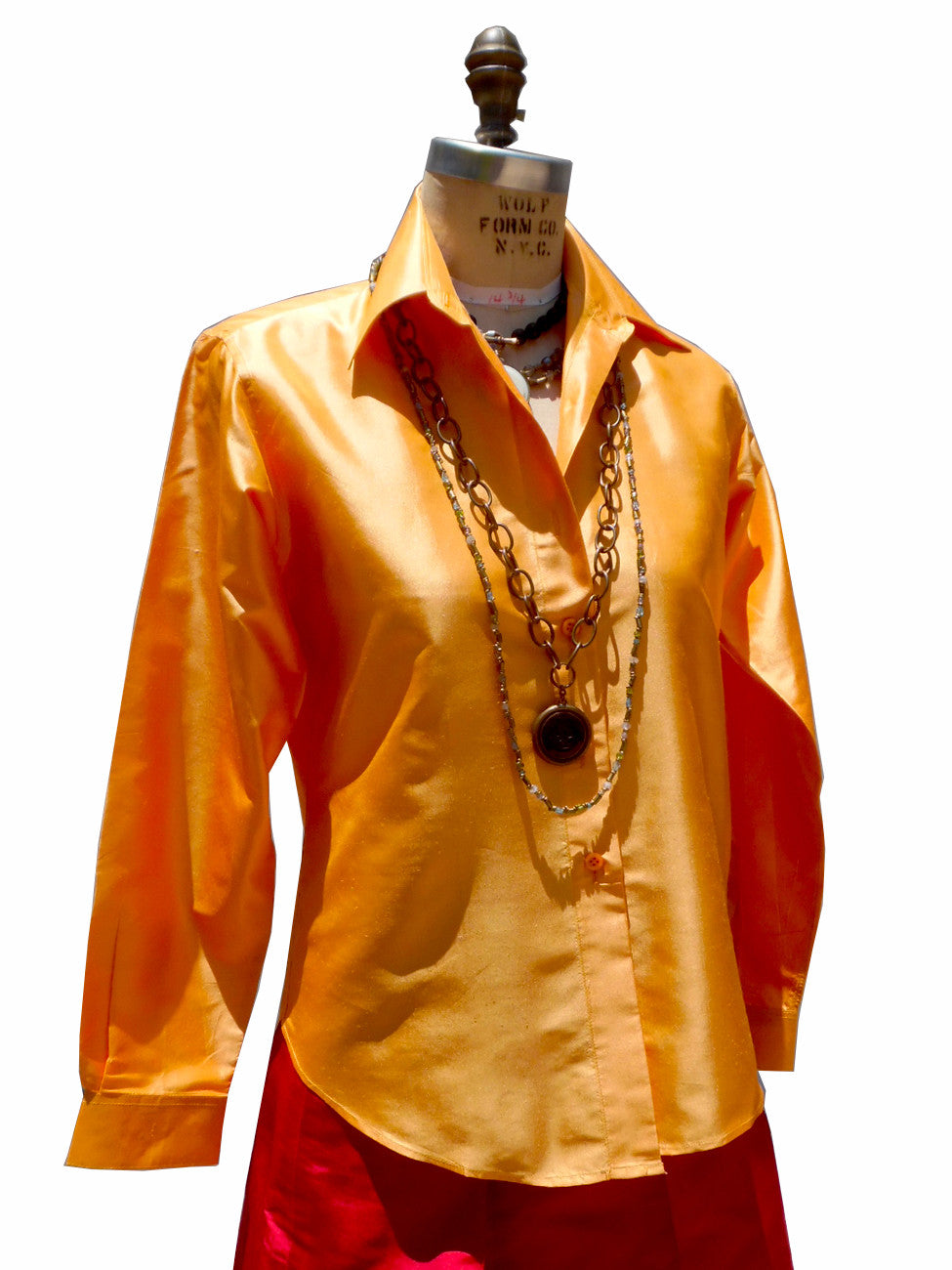 Thai Silk Button Down Shirt Carrot