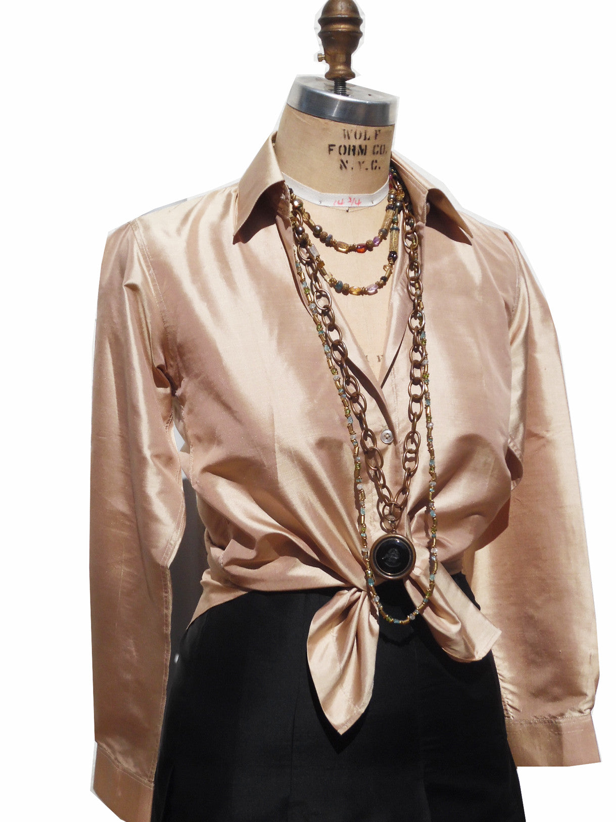 Thai Silk Button Down Shirt Champagne