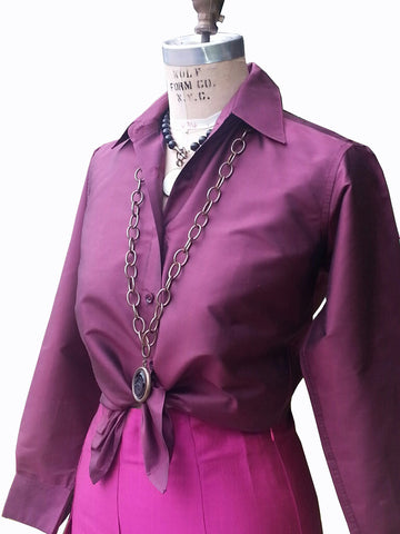 Thai Silk Button Down Shirt Eggplant