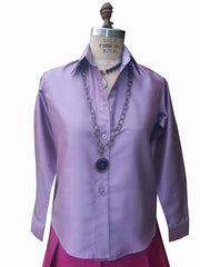 Thai Silk Button Down Shirt Fall Amethyst