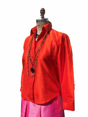 Thai Silk Button Down Shirt Hot Orange