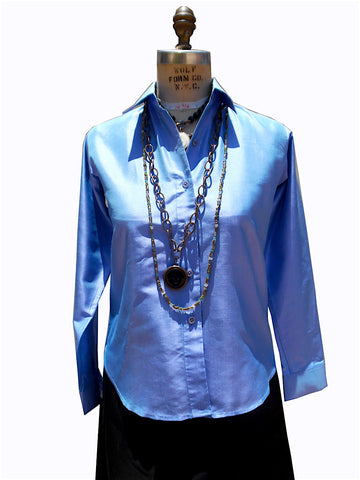 Thai Silk Button Down Shirt Periwinkle