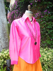 Thai Silk Button Down Shirt Precious Pink