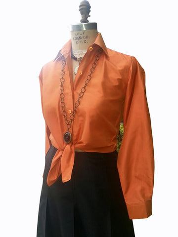 Thai Silk Button Down Shirt Pumpkin