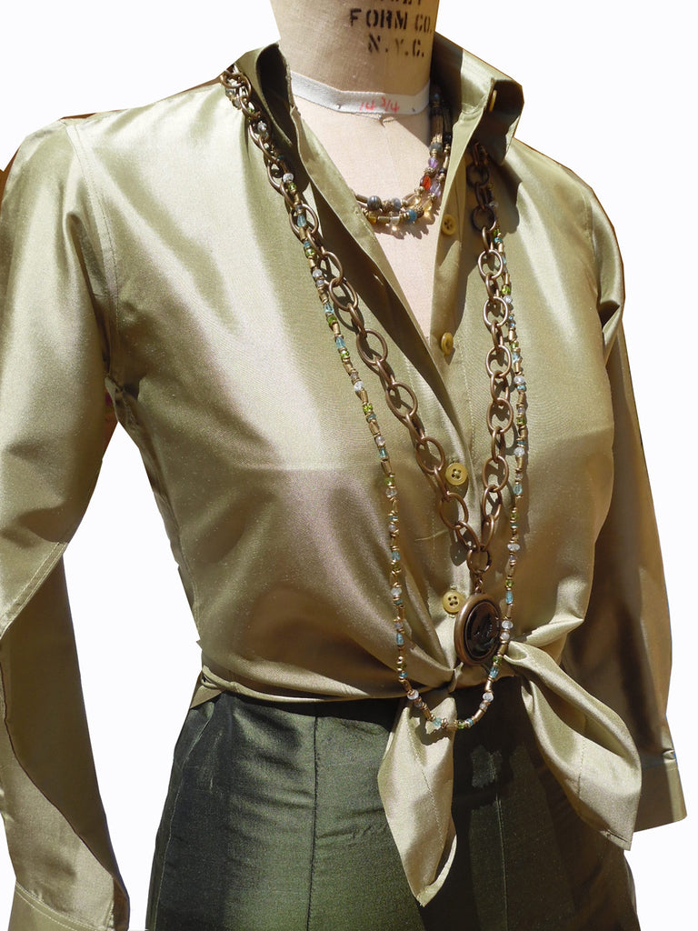 Thai Silk Button Down Shirt Sage