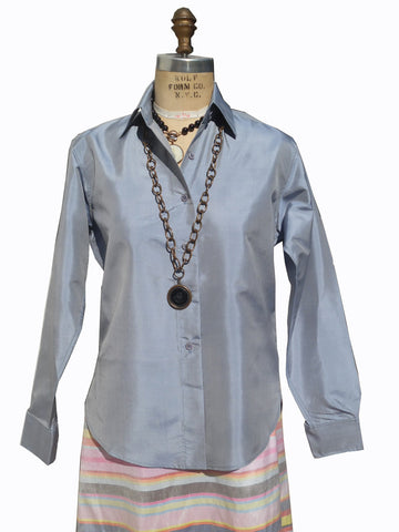 Thai Silk Button Down Shirt Fall South Sea Pearl