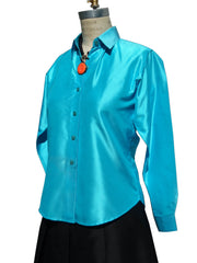 Thai Silk Button Down Shirt Turquoise