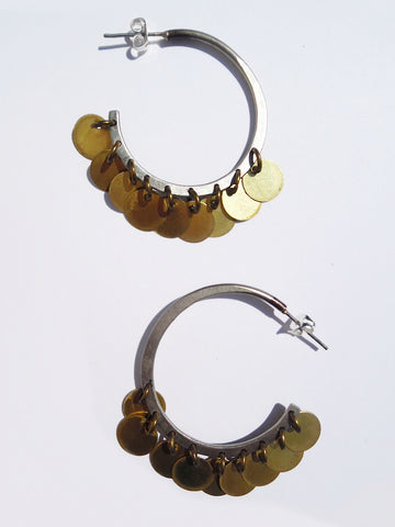 Earrings Arabia Hoops Alpaca Silver and Gold Medium