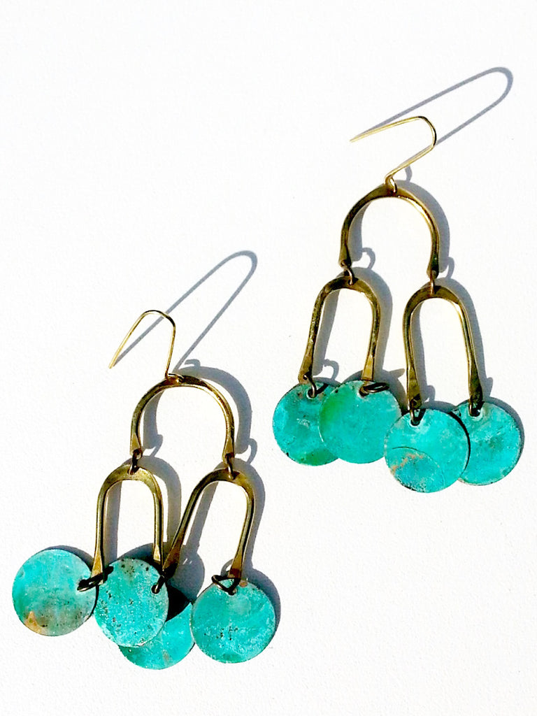 Earrings Chandelier Shape Patina