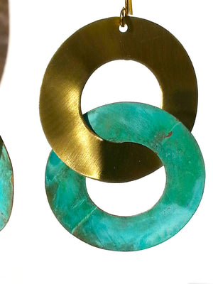 Earrings Double Hoop Brass Patina