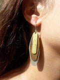 Earrings Dog Tag Alpaca Brass Copper