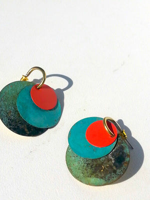 Earrings Three Planets Coral Garden Patina