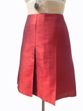 Pleated Cocktail Skirt Thai Silk Brick