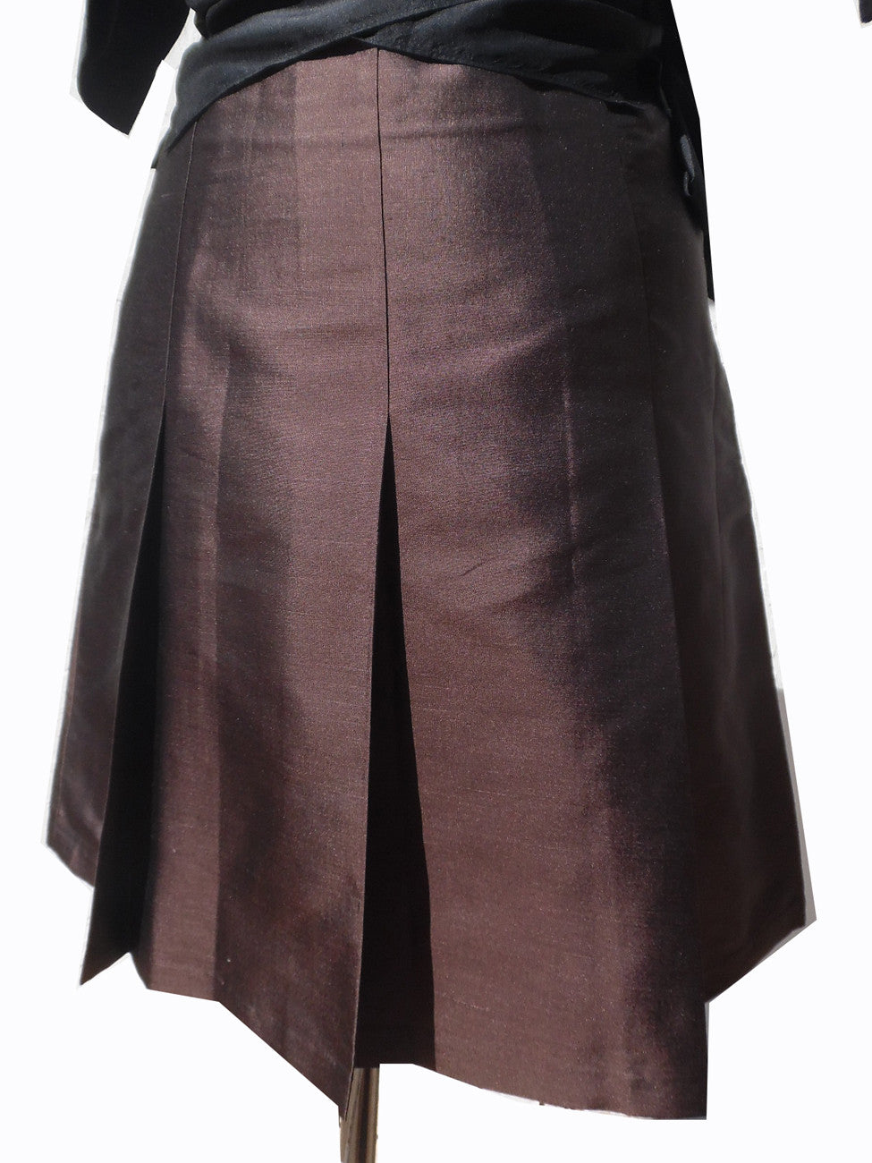 Pleated Cocktail Skirt Thai Silk Chocolate