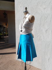 Pleated Cocktail Skirt Thai Silk Turquoise