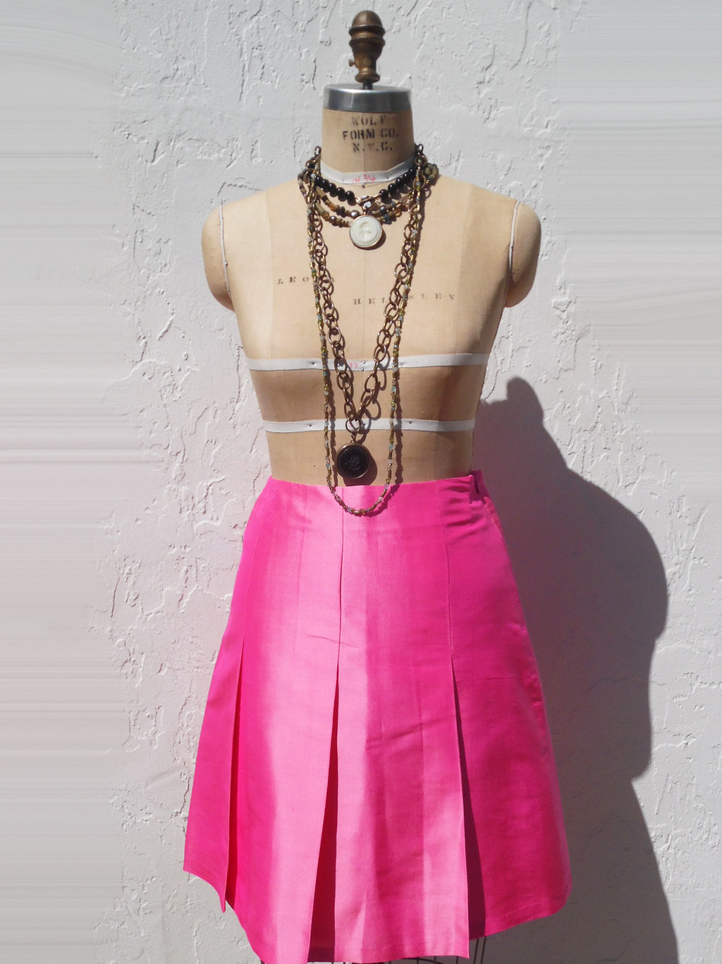 Pleated Cocktail Skirt Thai Silk Precious Pink