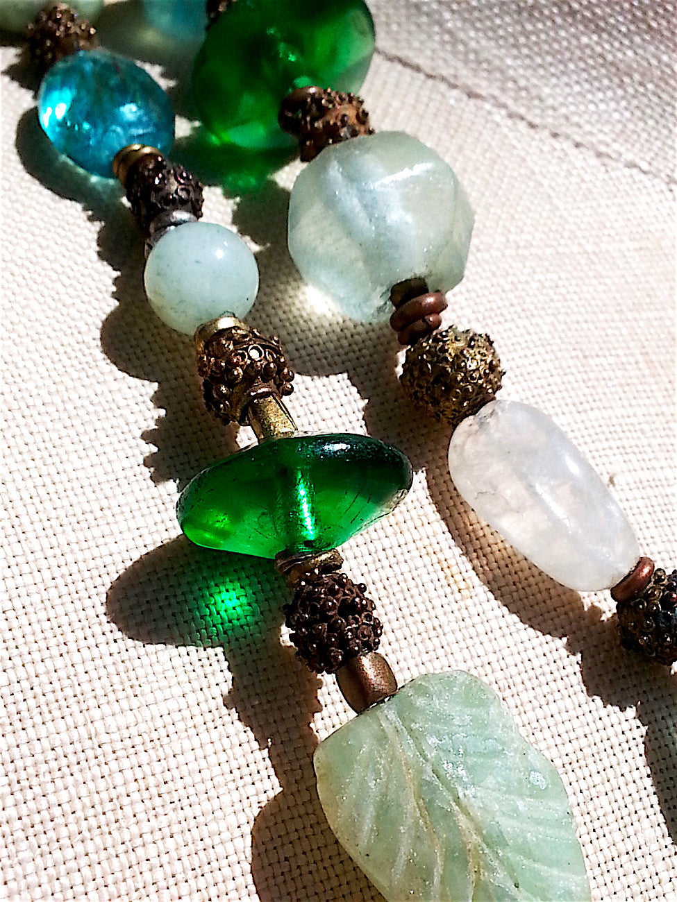 Necklace Aquamarine Moonstone Glass Mix