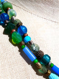 Necklace Semiprecious Mix and Glass Double Length Red or Blue
