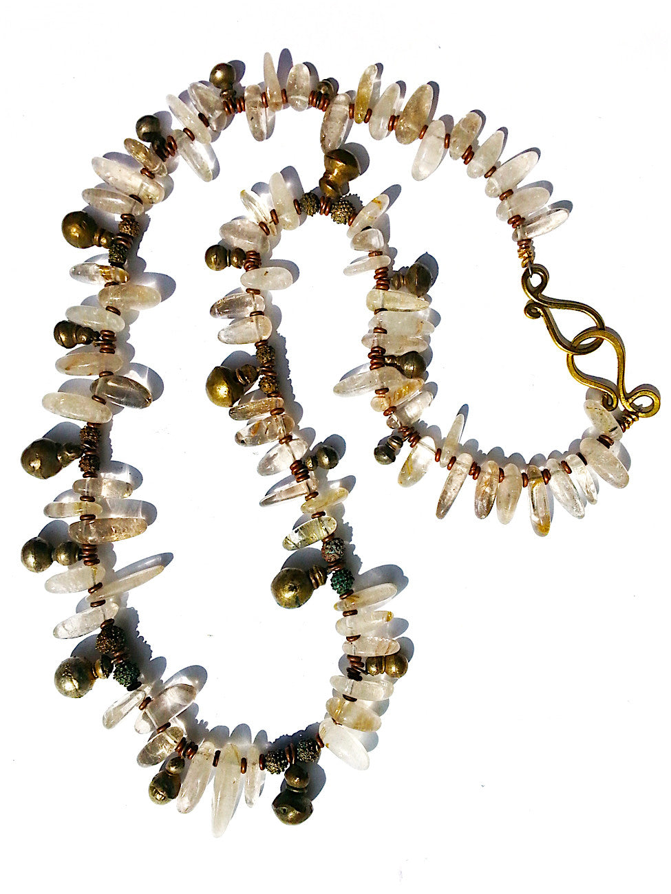 Necklace Quartz Citrine And Vintage African Brass