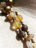 Necklace Citrine, Quartz and Vintage African Brass Double Length