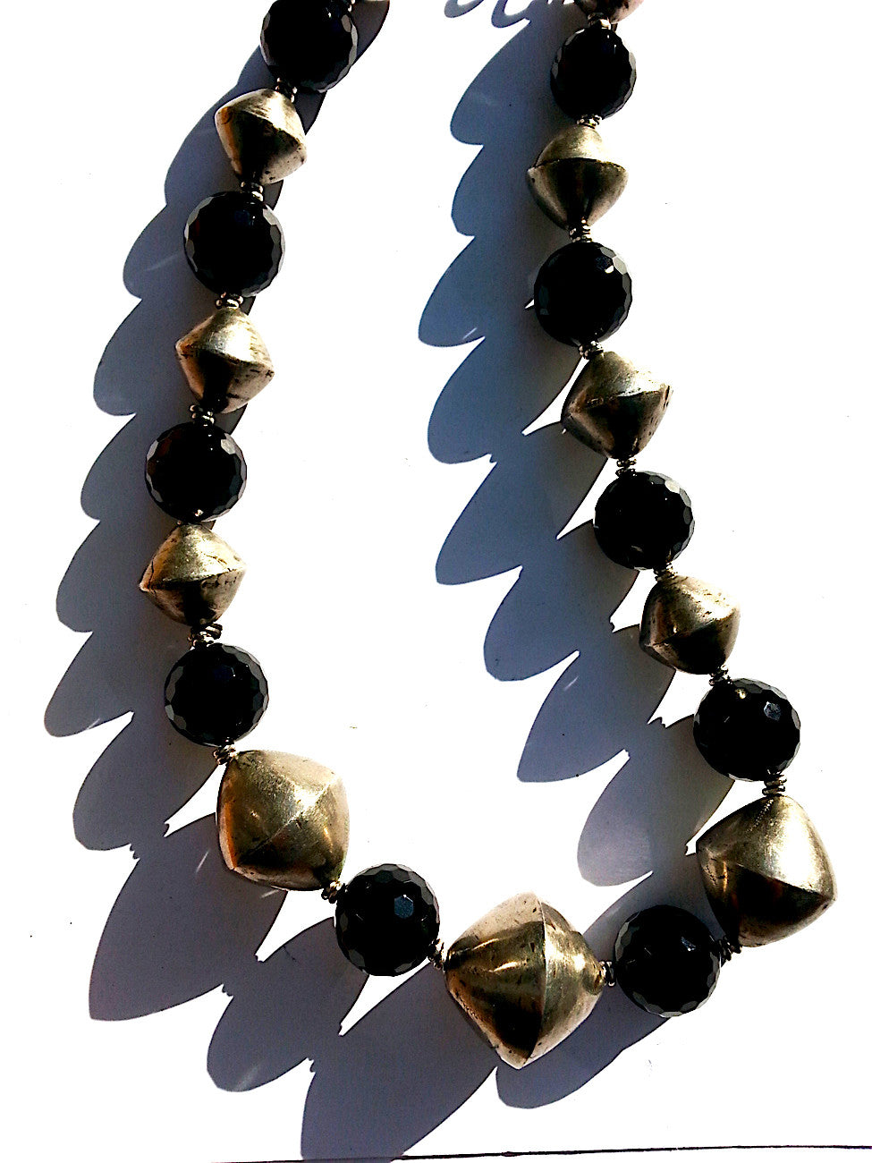 Necklace Onyx And Large Tuareg Silver