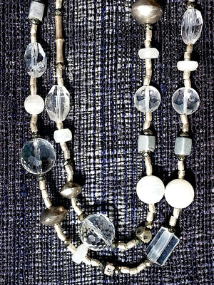 Necklace Quartz Orb Crystal Moonstone And Sterling Silver