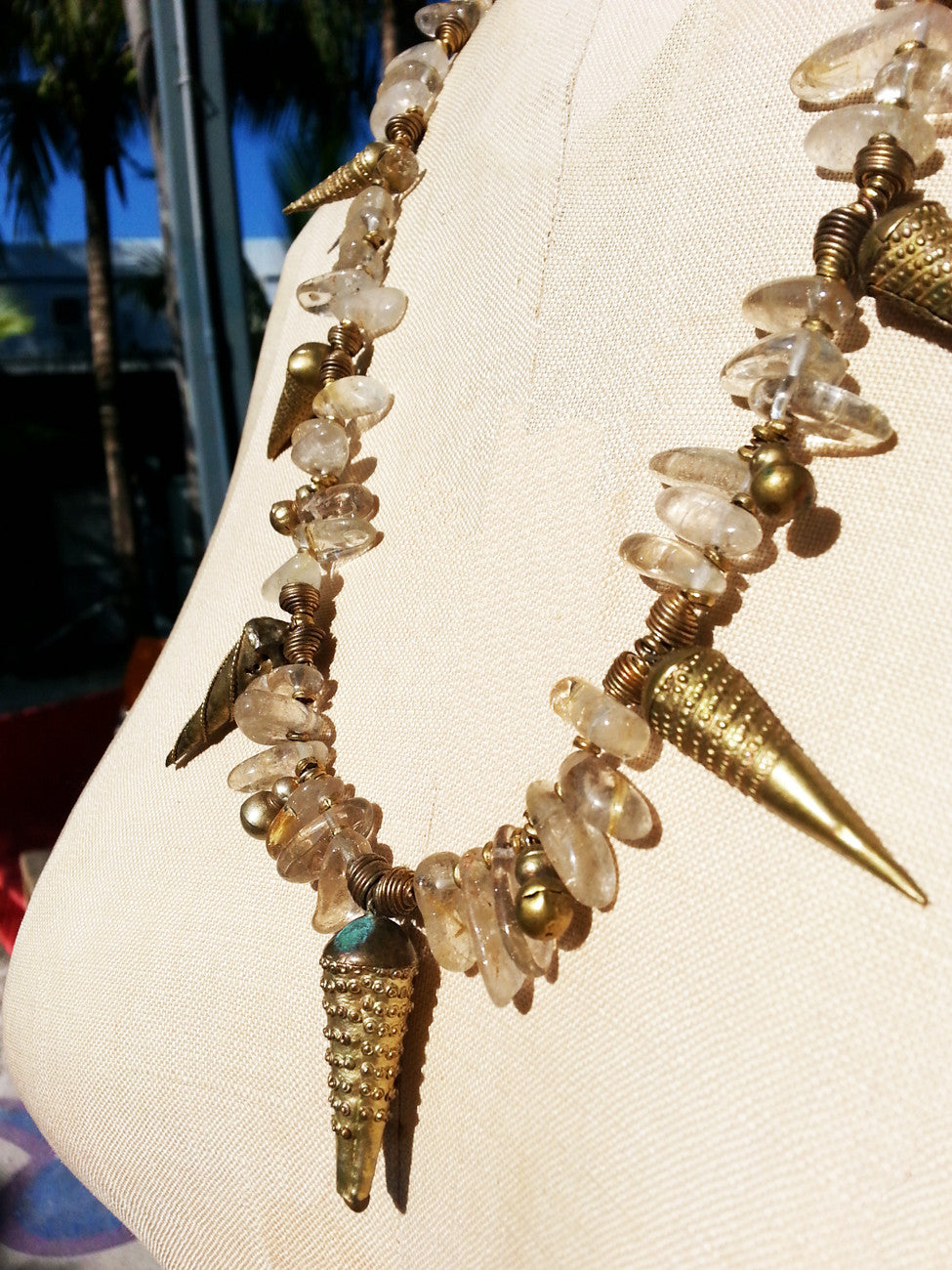 Necklace Rutillated Quartz Citrine and African Spike Charms