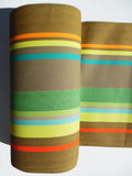 French Cotton Canvas Striped Textile Green and Tan