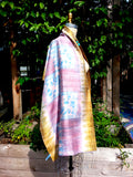Raw Silk Ikat Shawl One Of A Kind Pink Blue Gold